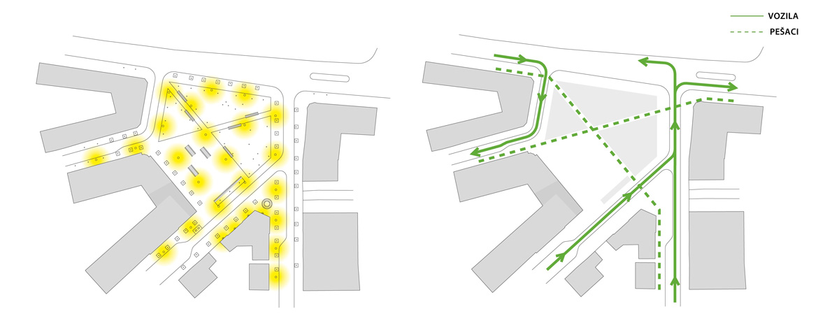 d infography in architecture   katarina mijica diagram i made for a team competition entry that shows public lighting of the square  left  and flux of pedestrians and vehicles  right