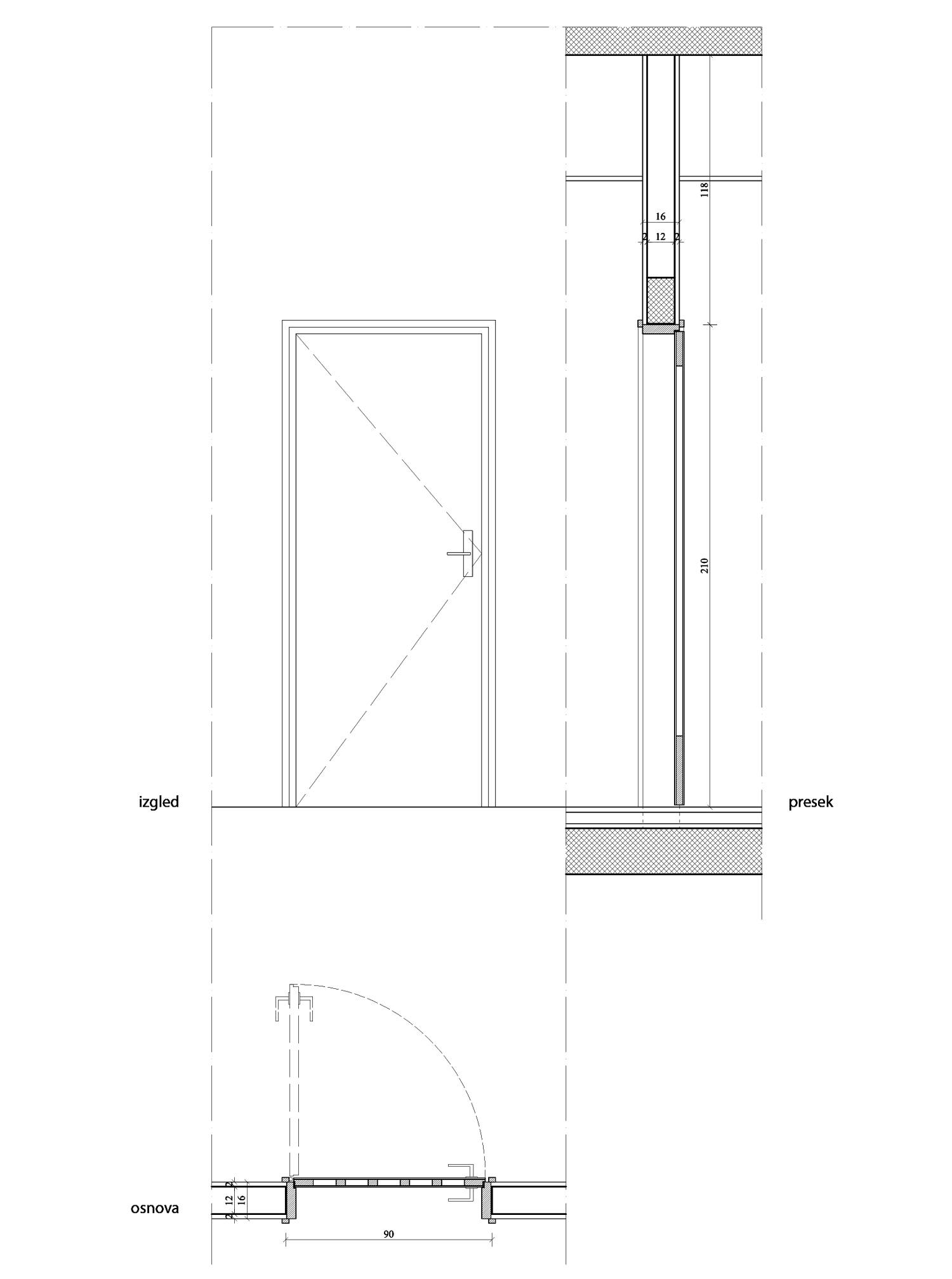 Elevation Plan Door : Technical detailing katarina mijic